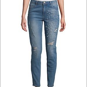 Design Lab Lord & Taylor Girlfriend Jeans Pearls
